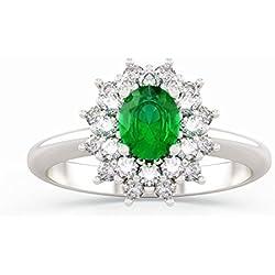 Anillo ANITA con esmeralda en oro 18kt, paladio y diamantes para mujer