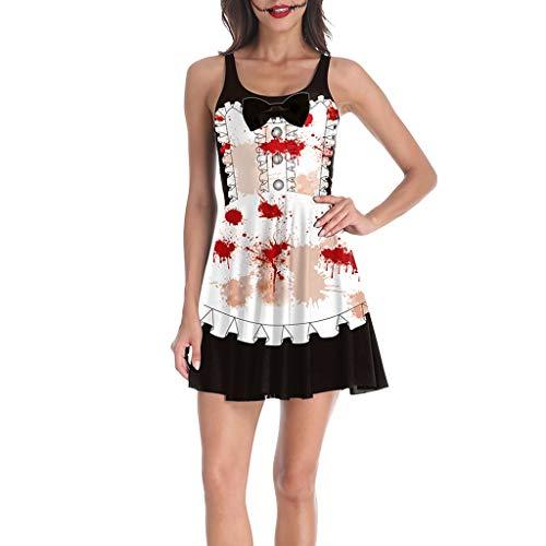 Damen Halloween Mini Kleider Mode Cosplay Kostüm Ärmellose Tops Rundhals Mädchen Muster Freizeit Kleid Vintage Kleid Party Kleid Karneval Festival Bluse Kleid Weiß S (Gruseligsten Kostüm Frauen)