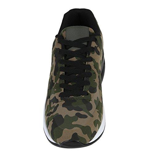 Herren Sportschuhe Leder-Optik | Sneakers Velours Glitzer | Metallic Runners | Freizeitschuhe Schnürer Camouflage Grün Braun