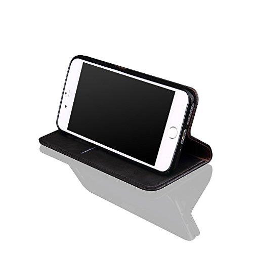 iPhone 6 Plus / iPhone 6s Plus Handycover, LifeePro für iPhone 6 Plus / iPhone 6s Plus Crazy Horse Pattern PU Leder Brieftasche Handycover mit Flip Stand Funktion Fotorahmen und Kartensteckplätze TPU  Schwarz