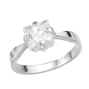 Elements Sterling Silver R925C 58 Ladies' Square Cubic Zirconia Clear Ring - Size Large