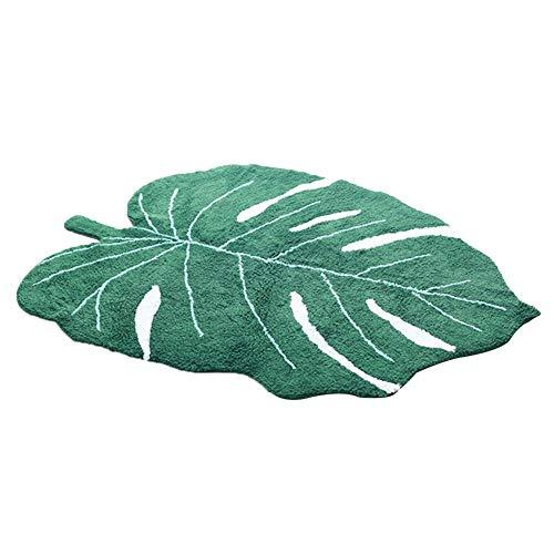 benignpoet Kreative Blattform Teppich, nordischen Stil Baumwolle Teppiche Teppich für Kinderzimmer Dekoration, Foto Requisiten, 150X110CM, Grün -