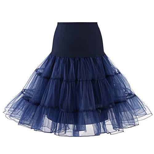 Andouy Damen Tutu Rock Tüll Organza A-Linie Petticoat Balletttanz Layred Kostüm Dress-up Größe 34-52(40-42,Marine) -