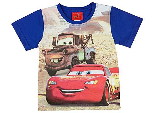 Disney Cars Lightning McQueen Kurzarm Sommer Polo T-Shirt für Jungen Pulli Oberteil Top Baumwolle, Grösse 104 110 116 122 Oberteil für 3 4 5 6 Jahre in Blau, Farbe Dunkel, Größe 104 (Disneys Cars Outfits)