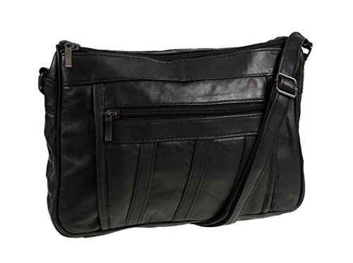 Damen Super Weiches Nappa Leder Schultertasche / Handtasche mit zwei Reißverschlussfächer. (Schwarz / Braun / beige / Blau / Tan ) Schwarz