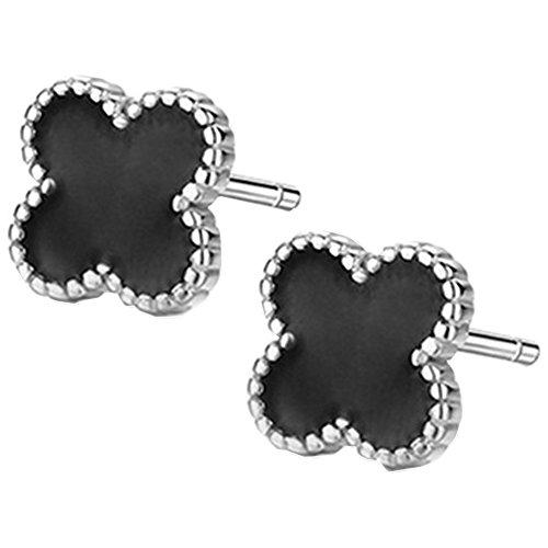 Unisex 925Sterling Silber vintage schwarz Onyx Achat Perlen-seitige Vier Clover Flower Damen Ohrstecker
