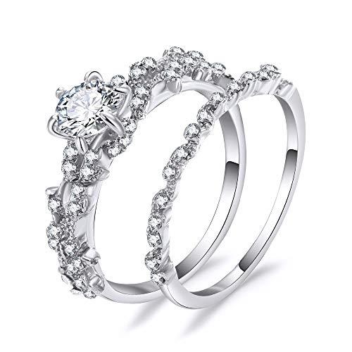 KWAEBG Ringe 2 STÜCKE Einzigartige Blatt Design Edlen Schmuck Verlobungsring Weiß Kristall Hochzeit Engagement Set Frauen Geschenk, A, 6 7 8 9