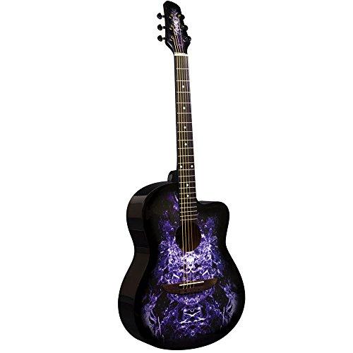 Lindo Guitars Apprentice Series 933C - Guitarra acústica (con recorte veneciano, incluye funda) color violeta