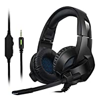 Amicool Gaming Headset for PS4, PC, Xbox One Controller, Noise Cancelling Over Ear Headphones with Mic, Bass Surround, Soft Memory Earmuffs for Laptop Mac Switch Games