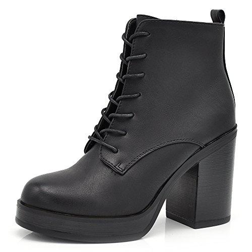 Senza marca/generico stivaletti stivali invernali scarpe da donna lacci tacco grosso anfibi 6160 nero 40