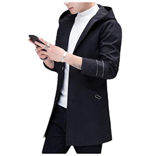 Energy Men's Plus Size Button Down Long Sleeve Hooded Jacket Trench Coat Black 4XL Button-down Trench Coat