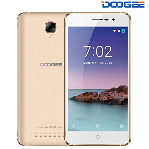 "Telephone Portable Pas Cher, DOOGEE X10S Double SIM 3G Android GO Smartphone - 3360mAh Grande Batterie - 5.0"" IPS Écran - 5.0MP Caméra - MT6580A 4X Cortex-A7 1.3GHz - 8GB ROM - Bluetooth - Or"