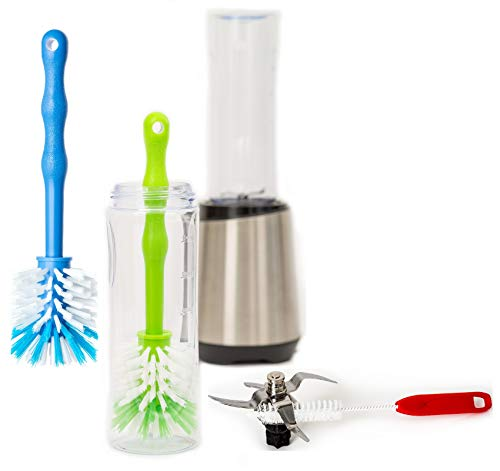 3er Set Spezial Reinigungsbürsten für Smoothie Maker, Mixer, Standmixer, Smoothiemaker Glas Flasche Becher to Go Behälter, Hochleistungsmixer, Stabmixer, Smoothies Blender (Grün/Blau/Rot)