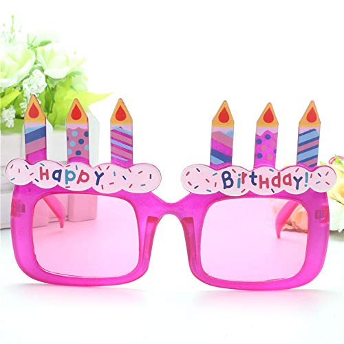 WWVAVA Party Brille  Lustige lila Geburtstagstorte Kerzen Happy Birthday Requisiten Gläser Neuheit Kostüm Sunglasse Girl Geschenke Party Supplies Dekoration, Pink