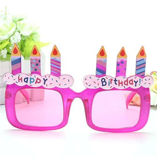WWVAVA Party Brille Lustige lila Geburtstagstorte Kerzen Happy Birthday Requisiten Gläser Neuheit Kostüm Sunglasse Girl Geschenke Party Supplies Dekoration, Pink