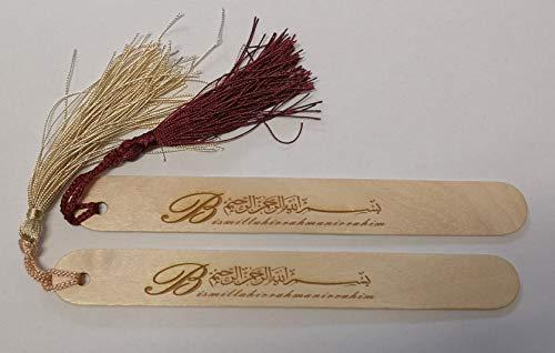 Lesezeichen Kitap Ayraci Gold/Bordeauxrot 2er Set Holz Quaste (Lesezeichen Arabisch)