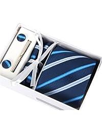 La boda regalo de Navidad con lazo Clip Plaza toalla gemelos y corbata azul de 4 piezas conjunto de corbata para los hombres