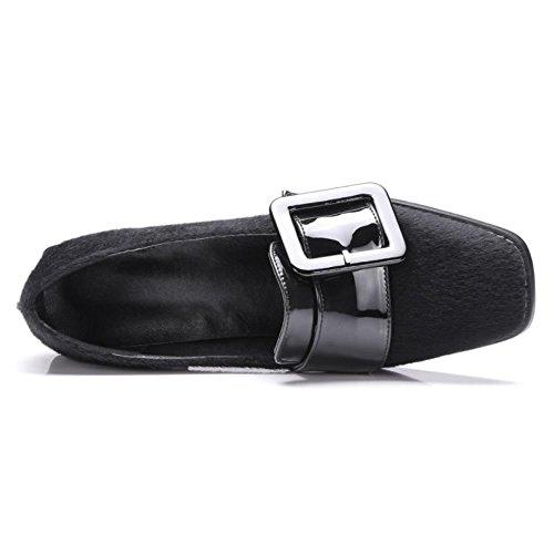 COOLCEPT Damen Mode-Event Buckle Belt Blockabsatz Pumps Brogues Flocking Schuhe Schwarz