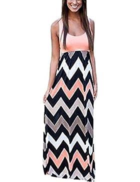 Damen Sommerkleid Kleider Maxikleid Streifen Schulterfrei Rundhals High Waist Lang Kleid Partykleid