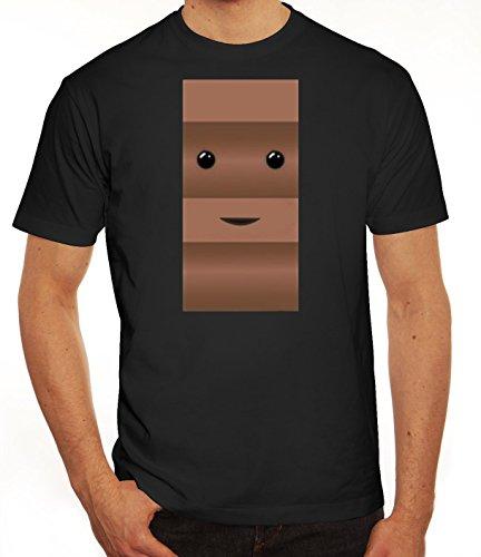 Fasching Verkleidung Herren T-Shirt Gruppen & Paar Kostüm Schoko und Milch Kostüm für Ihn, Größe: M,Schwarz (Gruppe Kostüme Idee)