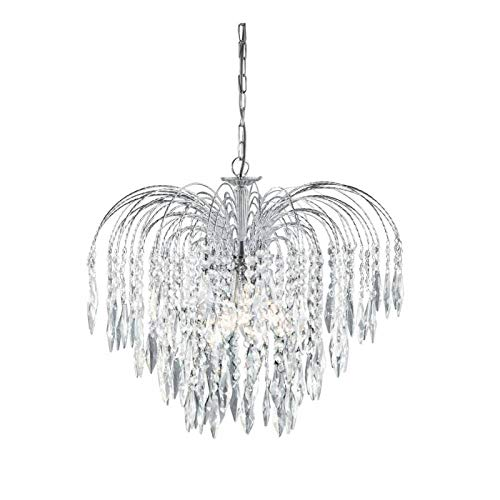 Waterfall 5 Light Crystal With Chrome Frame 3X60 Watt Bc Lamps
