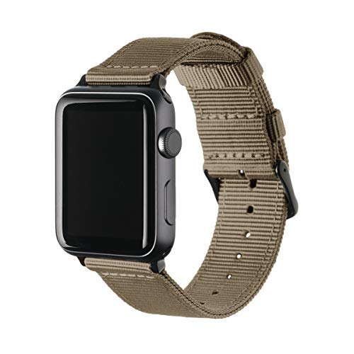 Archer Watch Straps Nylon Uhrenarmband für Apple Watch - Khaki/Schwarz, 42/44mm -