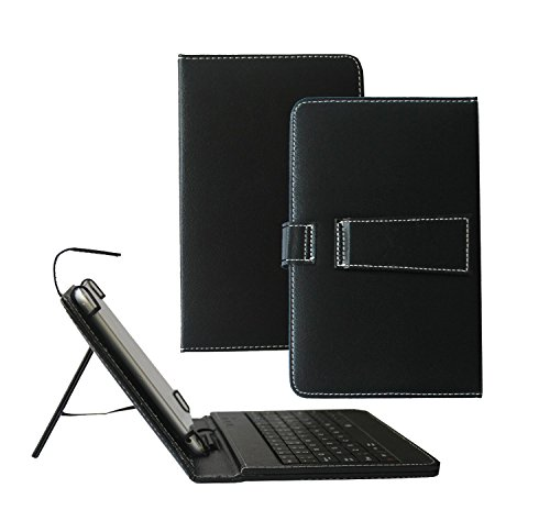 Tsmine Lenovo IdeaTab A8-50 8-Zoll-Tablet-Tastatur-Hülle - Micro-USB-Tastatur w / PU Ledertasche Standabdeckung, Schwarz