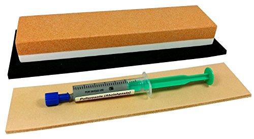 Schärf-Set für Messer / Korund Abziehstein + Leder + Feinschleifpaste -