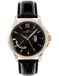 Lindberg & Sons LS15H5 - Reloj pulsera analógico de cuarzo para hombre, correa de cuero negra