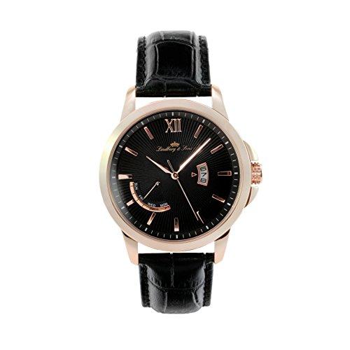 Montre Hommes Lindberg & Sons Quartz - Affichage Analogique bracelet Cuir Noir et Cadran Noir LS15H5