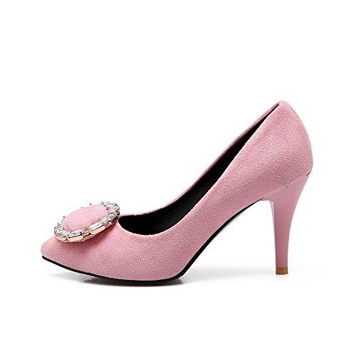 Schuhe Hoher Auf Pumps Zehe Absatz Spitz Agoolar Rein Mattglasbirne Damen Ziehen Pink q6wxv64g