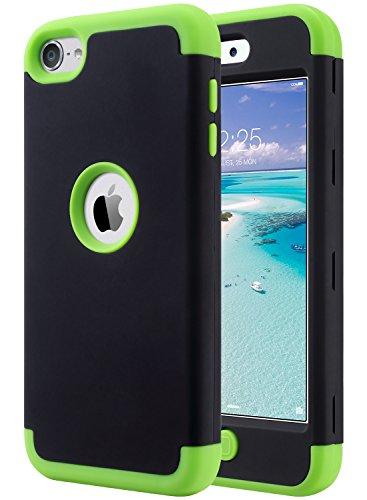 ULAK iPod 5 Caso, iPod Touch 6 Funda Carcasa híbrido de 3 Capas de Silicona a Prueba de Golpes Duro Caso Cubierta para iPod Touch 5ta / 6ta generación (F-Negro + Verde)