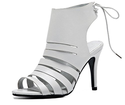 YCMDM femmes en cuir creux fines avec talons hauts sandales occasionnels loisirs printemps été chaussures d'automne Grey