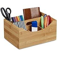 Relaxdays bambú organizador de escritorio, soporte para el lápiz, 4compartimentos, asa, Natural Madera Grano, tamaño: aprox. 12x 25x 18cm, color marrón