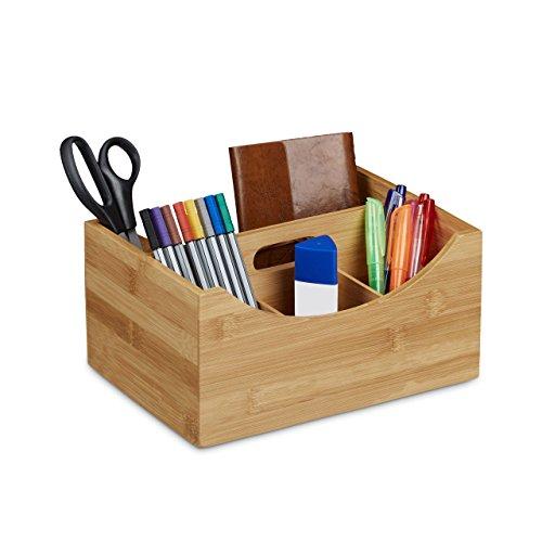 Relaxdays Schreibtischorganizer Bambus Stifteköcher