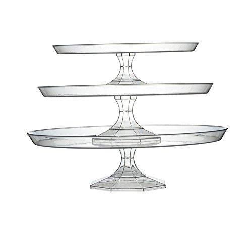 Élégant Plastique rigide 3 étages Cupcakes/support à gâteau – Ensemble de 3 pièces – Clair