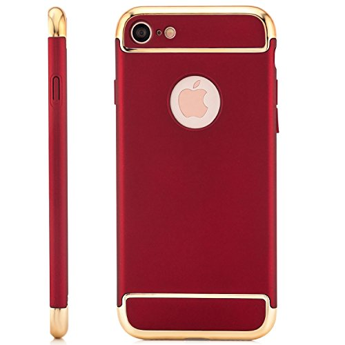 Saxonia iPhone 7 Coque Case [Ultra Hybrid] TPU Slim Silicone Back Cover Protection Rose Rot