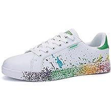 MUOU Unisex Sneaker Breathable Herren und Damen Wanderschuhe Outdoor Sports Laufschuhe Graffiti Trainer Schuhe Weiche Flache Schuhe (45, Weiß-Schwarz)