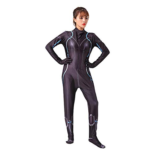 ZHANGQI Halloween Avengers Black Widow Cosplay3D Spandex Siamese Strumpfhose Für Erwachsene/Kinder Spielkostüm,Black-XL