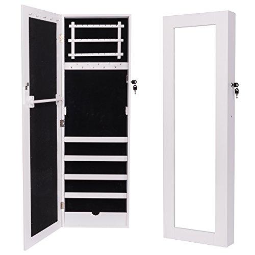 #Topgoods2016 MDF Abschließbar Schmuckschrank Spiegelschrank Wandspiegel mit Tür und Spiegel 120 x 36 x 9 cm Weiß (Gewicht: 11 kg)#