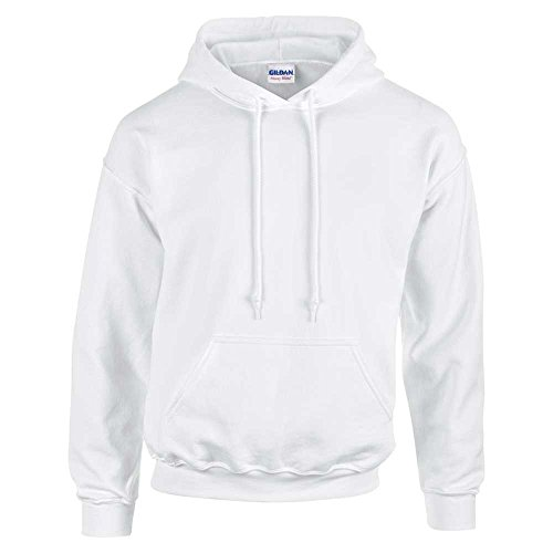 Gildan–felpa pullover da uomo con cappuccio White