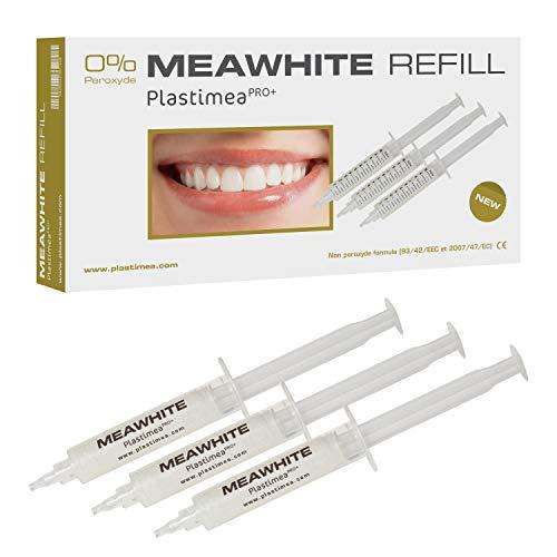 ERSATZ-GELE für MEAWHITE Sofort Zahnaufhellungs-Set - Bleaching - Nachfüllset - 3 Spritzen zu je 10 ml hochwertiges & effektives Gel - OHNE PEROXID! Unschädlich für Zähne & Zahnfleisch