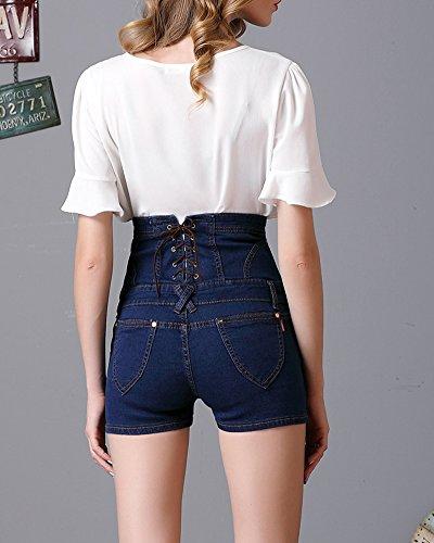 Damen Shorts Denim High Waist Vintage Hot Pants Basic Jeans Hose Blau