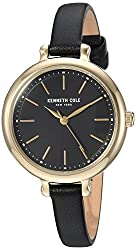 Kenneth Cole New York Womens Quartz Stainless Steel and Leather Casual Watch, Color:Black (Model: KC50065002)