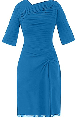 Sunvary Elegant Neu Falte Halbarm Kurz Chiffon Mutterkleid 2016 Festkleider Partykleider Blau