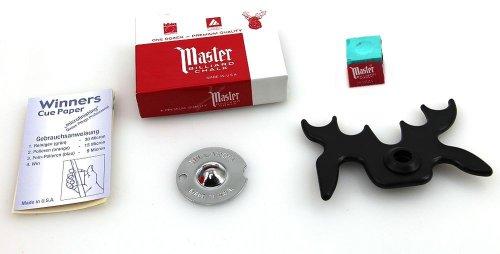 Preisvergleich Produktbild Snooker Zubehör Set mit Lederformer,  Kreide,  Queuebrücke und Schleifpapier