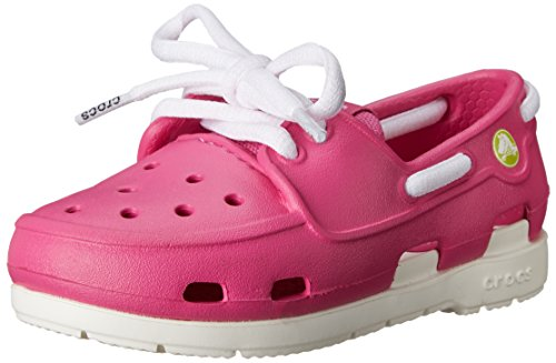 Crocs Beach Line Boat Children, Unisex - Kinder Segelschuh, Pink (Fuchsia/White), 30-31 EU (Lace Boat)