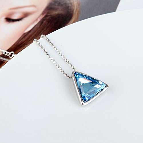 Mabox Sterling Violet Collier en Argent 925 pendentif en cristal avec le cristal autrichien pour les femmes Bleu