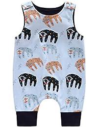 Leruyi Bañadores de Dibujos Animados Mangas de algodón Suave Chaleco Mono con patrón de Gorila Ropa cómoda Mameluco para bebés niñas