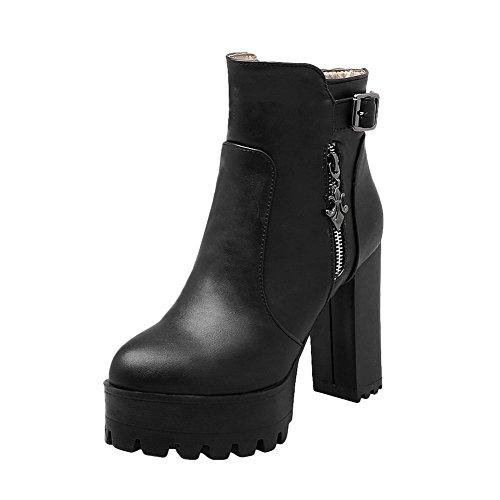 Mee Shoes Damen kurzschaft Reißverschluss Plateau chunky heels Stiefel Schwarz